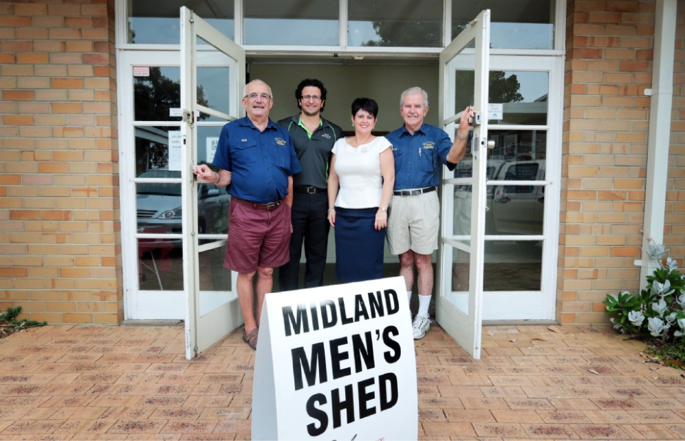 Midland Men's Shed president Dave Savage , City of Swan councillor Daniel Parasiliti, East Metropolitan MLC Alyssa Haydenand shed secretary and treasurer Kevin Buckland want to find a shed for the organisation.