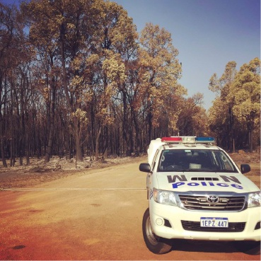 Mirrabooka police officers helped during the fires.        Picture: Twitter