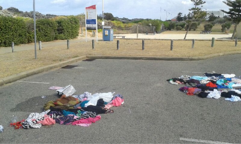Local surfer Matt McGurgan photographed this mess at the carpark of Surf's Beach last Monday.