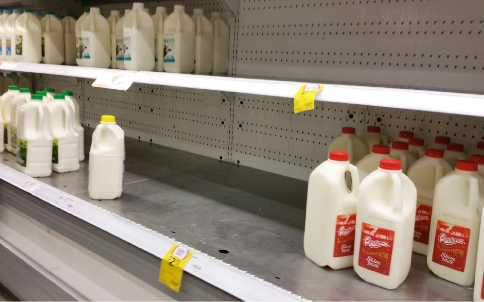 Local milk supplies were depleted last week.