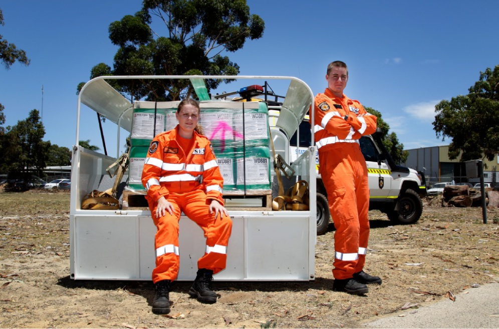 Gosnells SES members Cherese Green and Ewan Walsh.         d448647