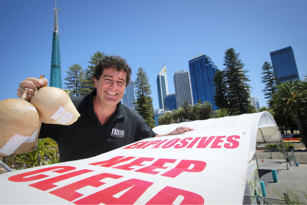Shayne Lewis, from Howard and Sons Pyrotechnics, gears up for the Australia Day Skyworks.  Picture: Andrew Ritchie d448644