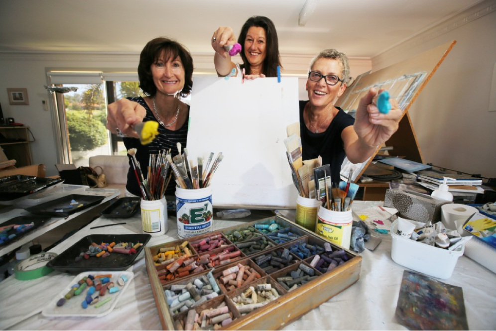 Linda O'Brien, Julie Silvester and Maryann Devereux  are opening their studios to the public. Picture: Andrew Ritchie          d448597