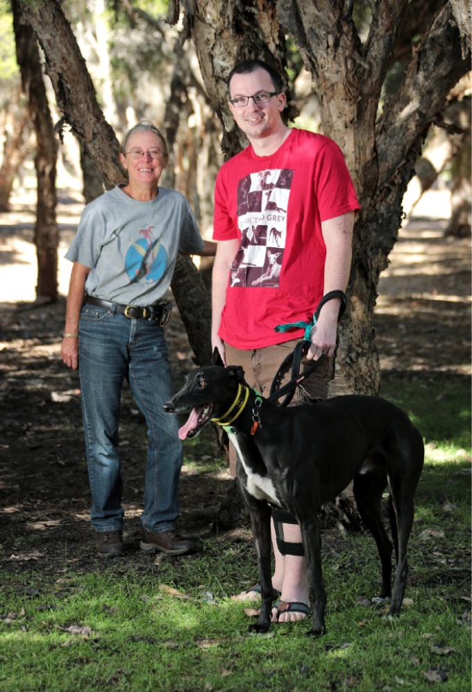 Sue Leitch with Greyhound Angels of WA treasurer Daniel Always and his rescued dog Bruce. d448606