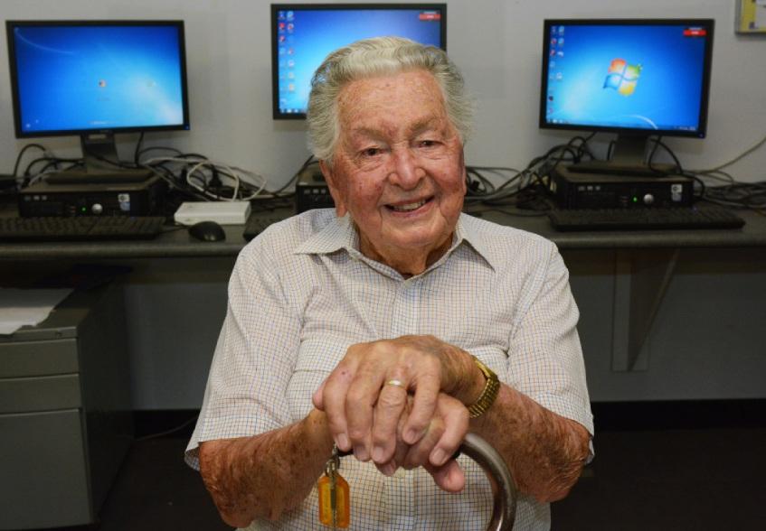 Ken Walker turned 99 two days before Australia Day. Picture: Jon Bassett