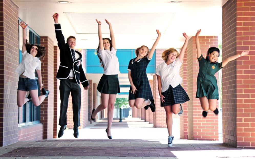 Jumping for joy: Danielle Leotta, Max Chapman, Ashley Veivers, Lara Yagmich, Georgia Taylor and Hera Nguyen. Picture: David Baylis        www.communitypix.com.au   d448262