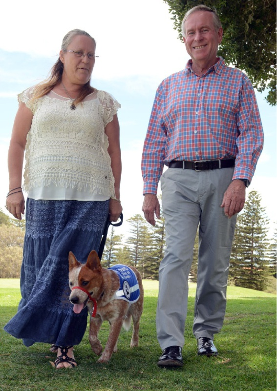 Red heeler Gypsy with Tina Webster and Mr Barnett at the Sea View Golf Course last Friday.