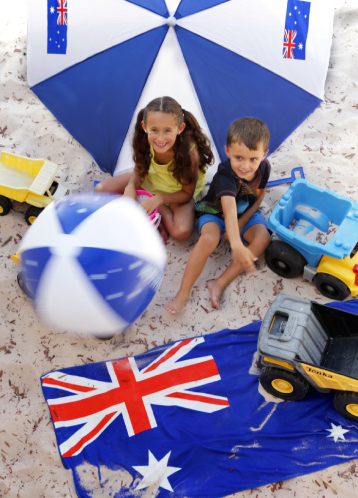 Sister and brother Gemma (7) and Alex (4) Agostini from Tapping get in the mood for Australia Day fun. Picture: Martin Kennealey www.communitypix.com.au   d448556
