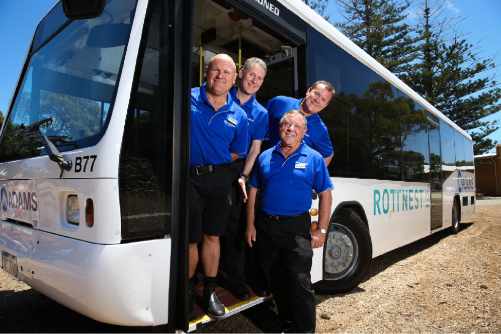 Adams Coaches operations co-ordinator Ian Cooper, operations supervisor John Weatherhead, driver Ted Zappara and owner Adam Barnard.  Picture: Andrew Ritchie        www.communitypix.com.au   d447708