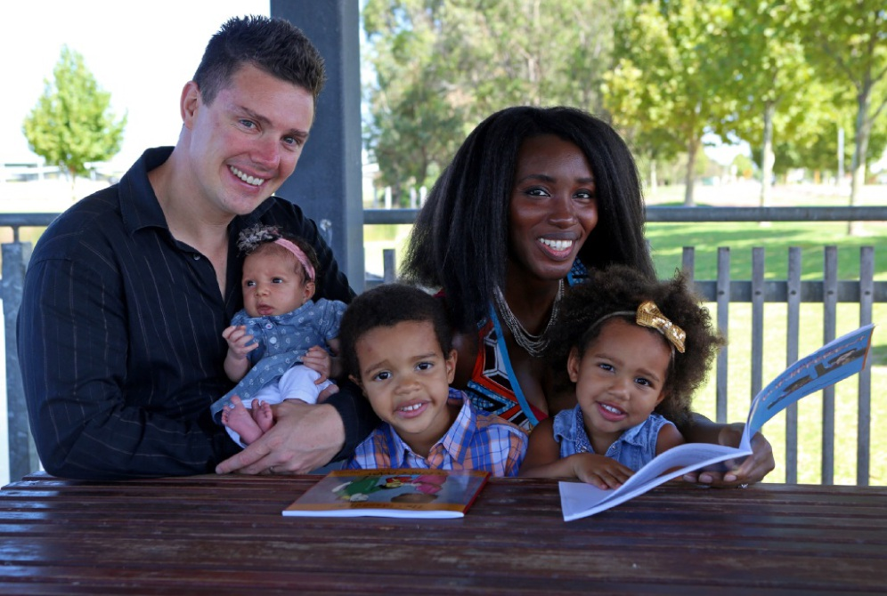The idea of family has changed: Matthew Green and Naomi Kissiedu-Green with their children Savannah, Kobi and Ebony Green. Picture: Matt Jelonek        www.communitypix.com.au   d448241