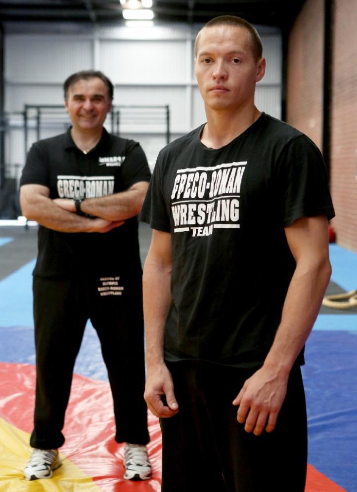 Wrestler Ando Lehmets with his trainer Adrian Tesanoic. Picture: Matt Jelonek    d445707