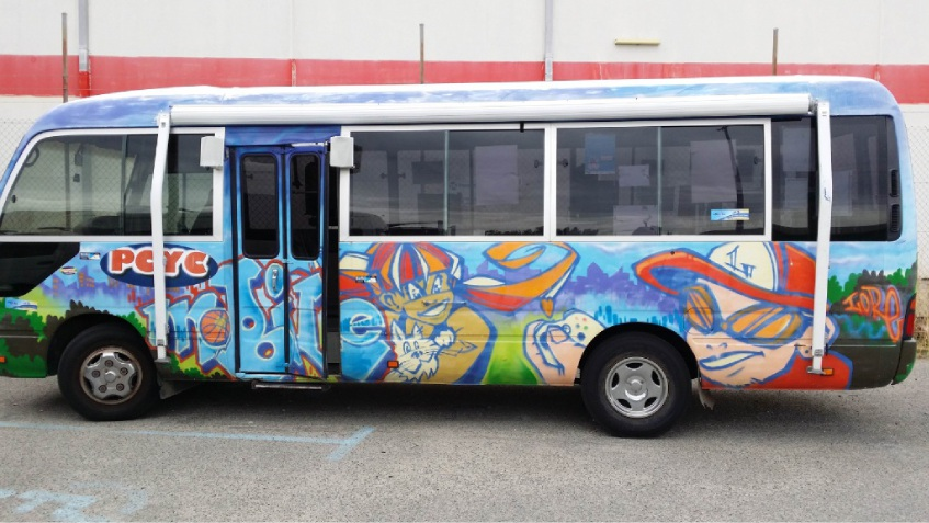 The PCYC bus used to provide youth services was vandalised and ransacked.