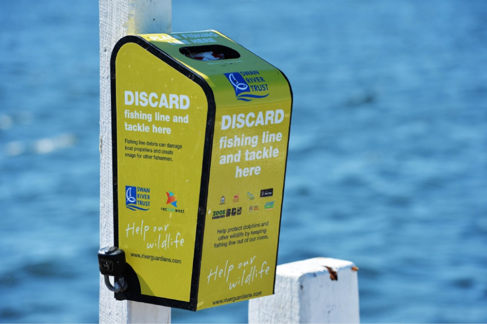 A special bin for discarding fishing line and tackle items safely.