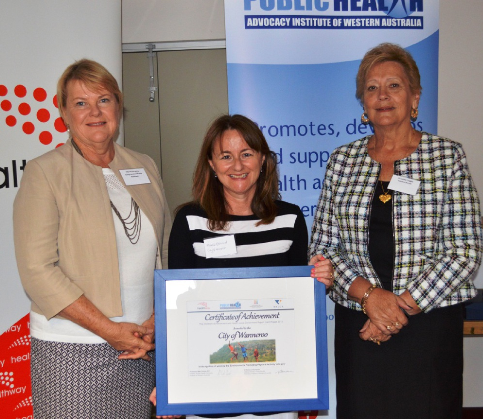 Michelle Brennand (City of Wanneroo) with acting Healthway executive director Maree DeLacey and WALGA president Lynne Craigie.
