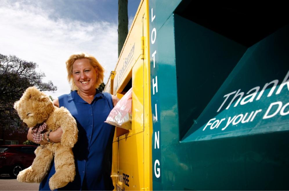 Debbie Cameron, from Good Samaritan Industries, at charity bins in Kensington. Picture: Marie Nirme d446316