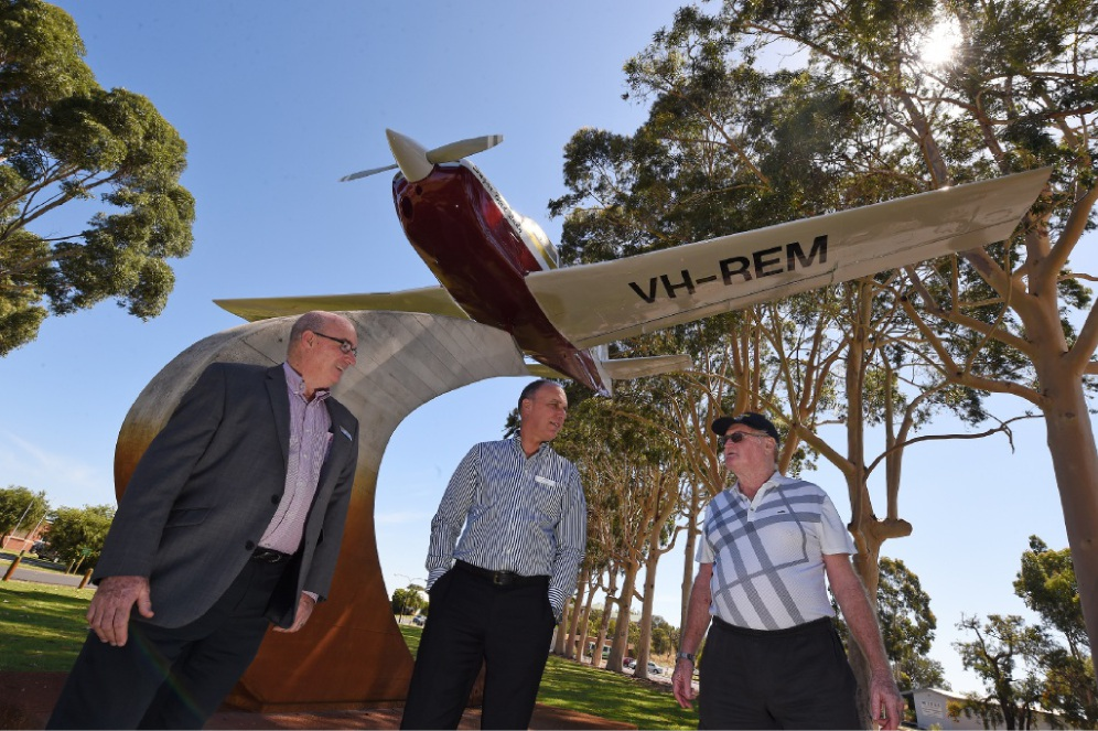 Home to roost: Aviation Heritage Museum CEO John Murray, RFDS Nick Harvey (executive general manager of corporate affairs) and Malcolm Sweetman (museum) at the memorial.  Picture: Jon Hewson d447873