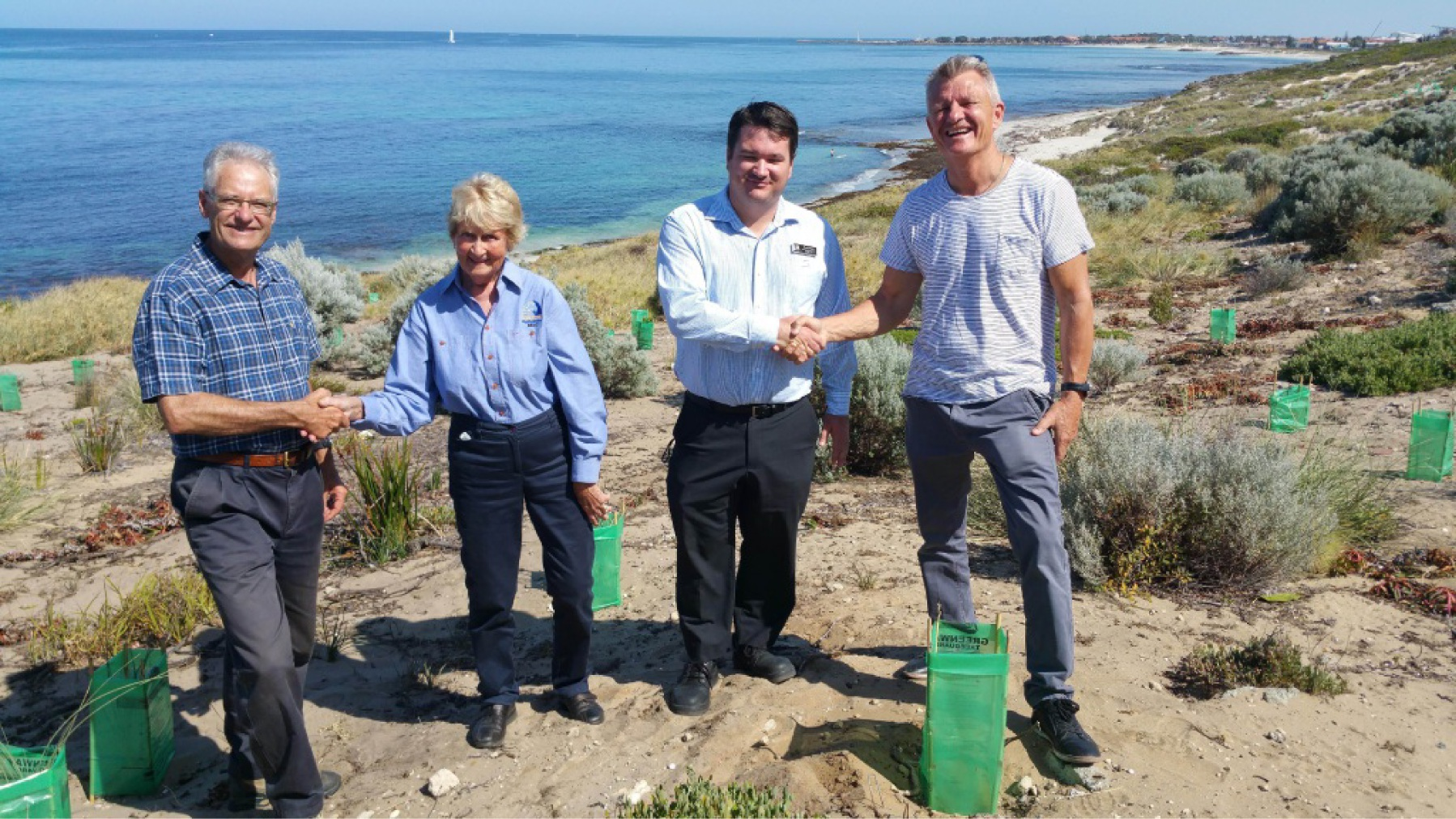 Councillor Mike Norman, Stirling Natural Areas Coastcare's Rae Kolb, Stirling environment officer Murray Woods and Joondalup natural areas manager Keith Armstrong.