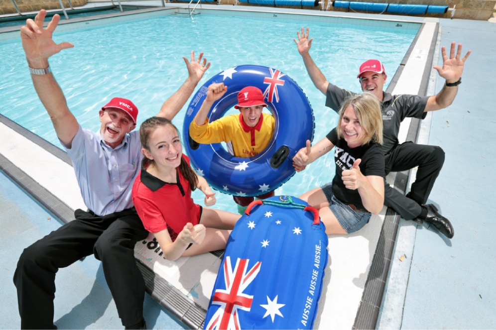 Kevin O'Connor, Beth Hickson, Max Siebert, Natacsha Siebert and Darren Jones get ready for the Australia Day Pool Party at Kalamunda Water Park. Picture: David Baylis  www.communitypix.com.au d448070