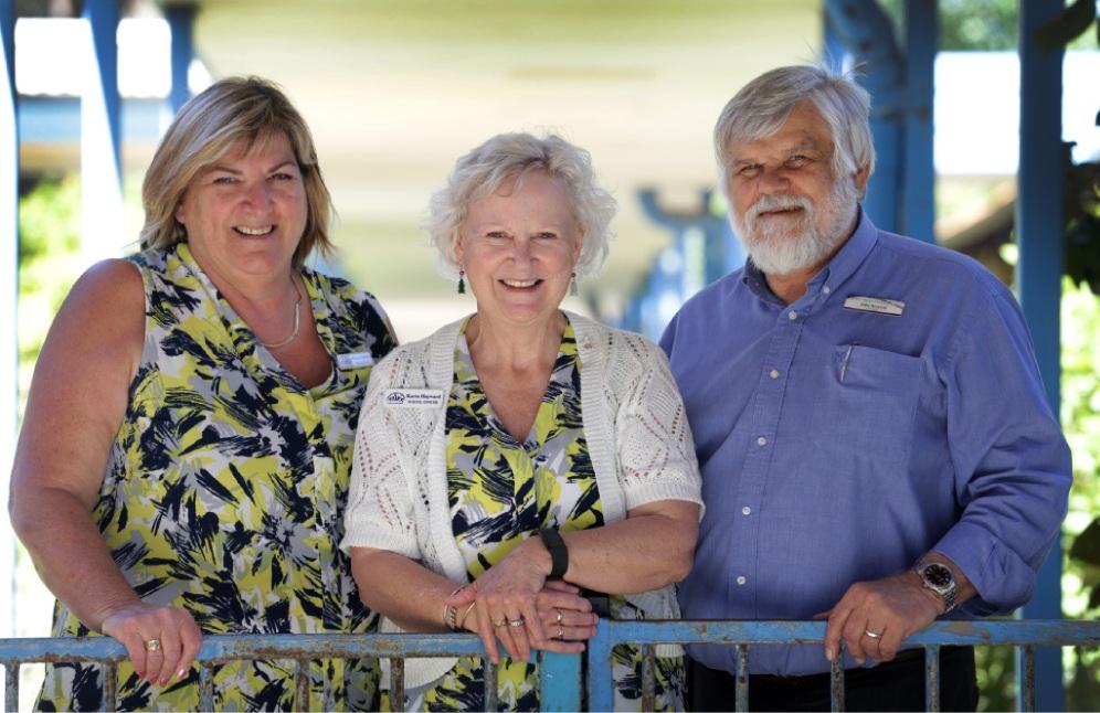 Registrar Margaret Holder, retiring school officer Karen Hayward and principal John Nowicki.    d447900