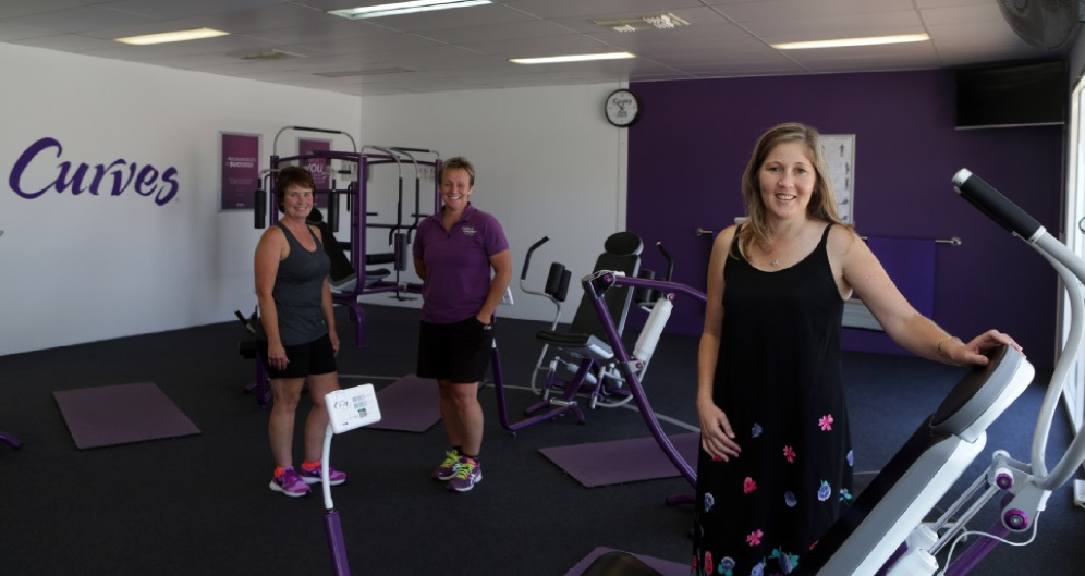 Kim Skinner and Anne Boyle from Curves with Mandy                  Belward from Merriwa. Picture: Martin Kennealey           d447889