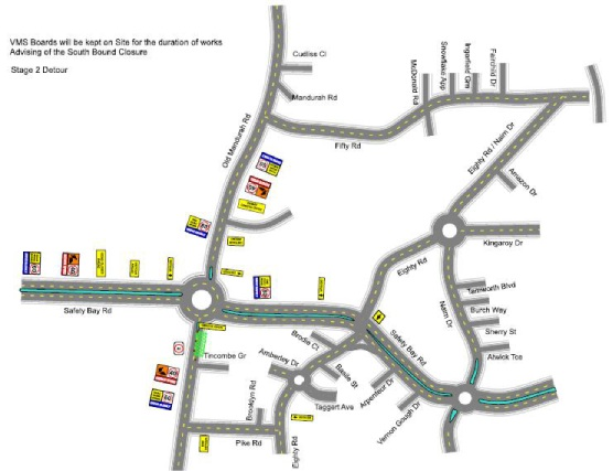 A map showing the roadworks.
