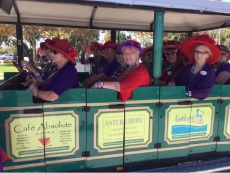 The Red Hat ladies on the Big Toot tourist train.