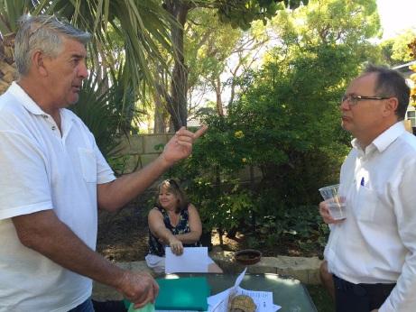 Resident David Tournay (left) puts his concerns to David Templeman
