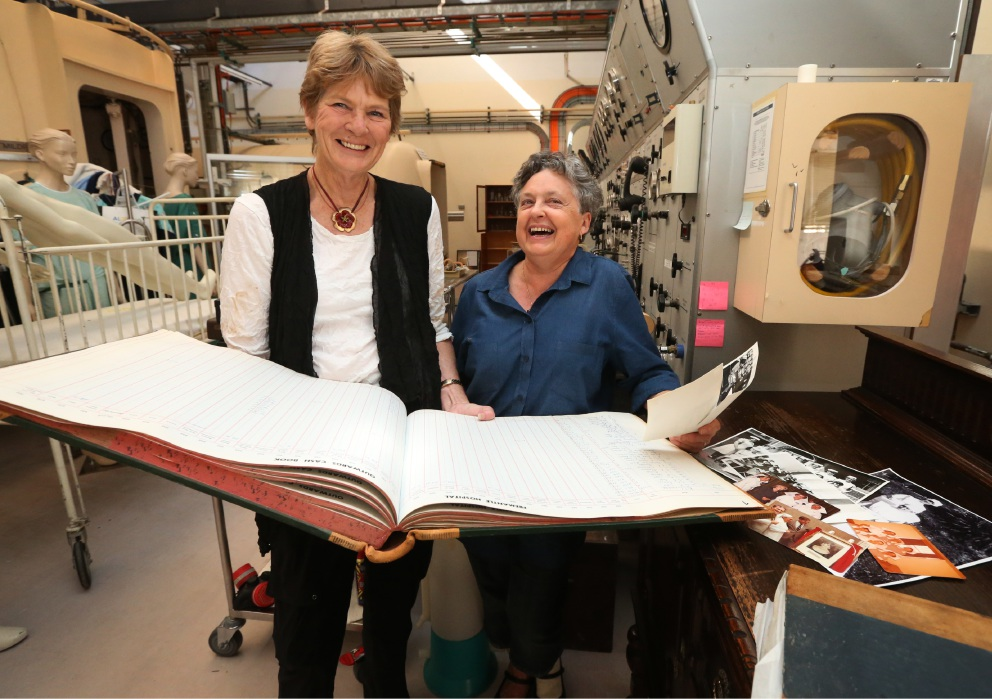Fremantle Hospital Exhibition curator and volunteer Ruth Letts with Lesley Gibbs. Picture: Matt Jelonek d452840