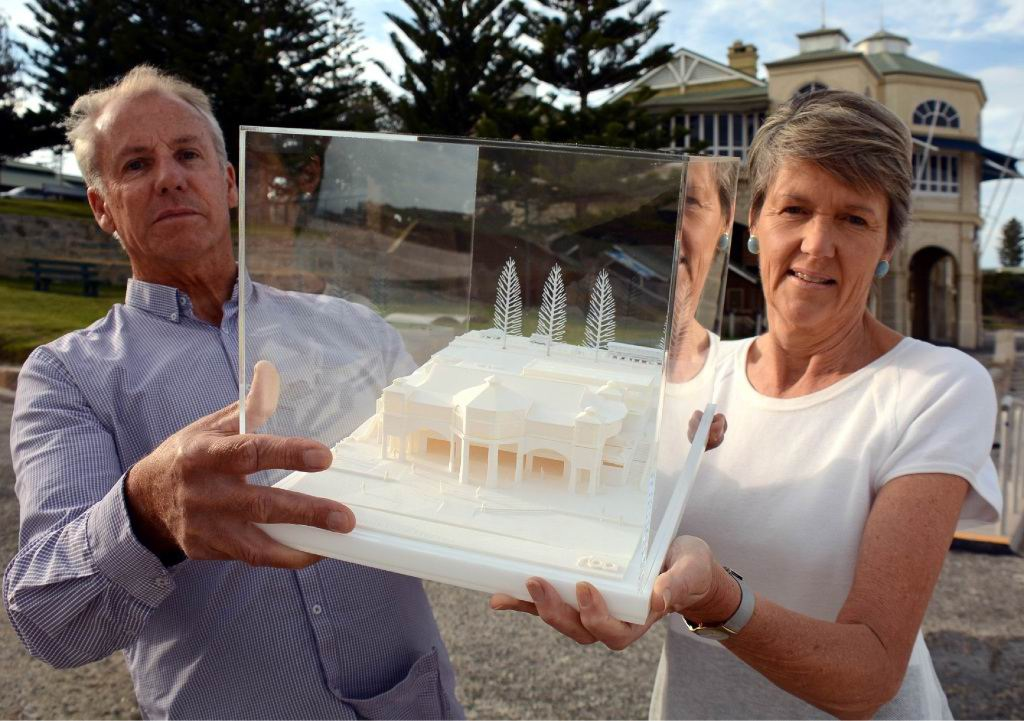 Architect Simon Rodrigues and Cottesloe Mayor Jo Dawkins with a model of a revamped Indiana Cottesloe last year. Picture: Jon Bassett.