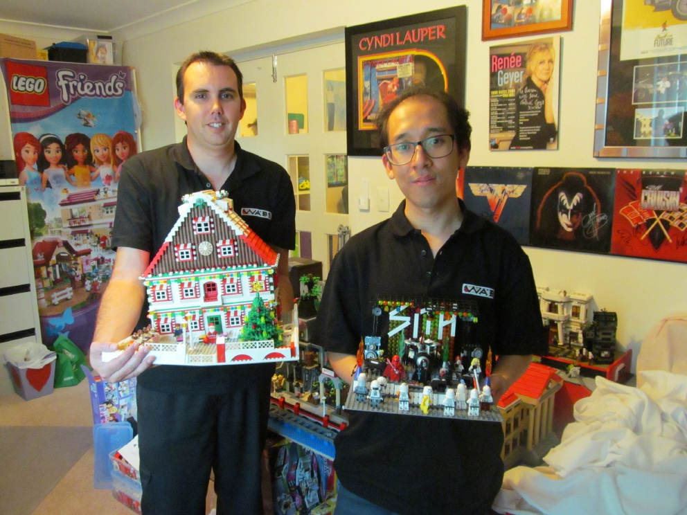 WA Brock Society secretary Aaron Gibson and Jijin Koid with Lego creations that will be on show in Clarkson.