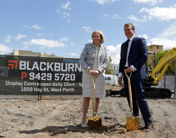 Lord Mayor Lisa Scaffidi, pictured here with Blackburne managing director Paul Blackburne. Picture: David Broadway.