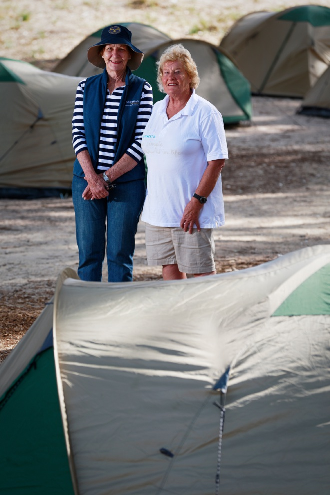 Attentive: Camp hosts Margo Armstrong and Elaine Stacey. Picture: Andrew Ritchie www.communitypix.com.au   d452246