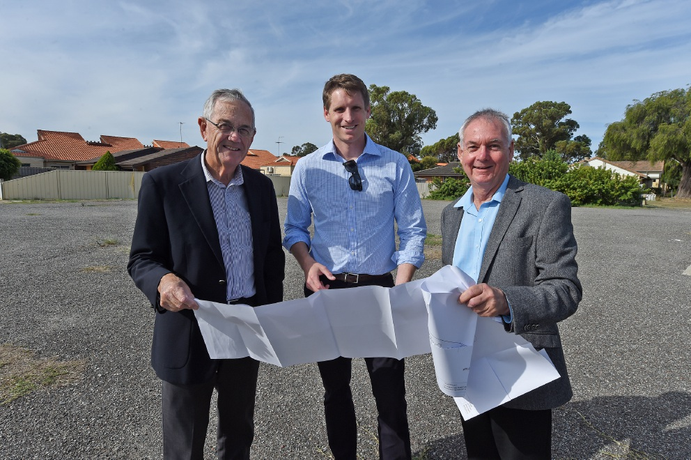Retiring chief executive Don Pember (right) checked new plans for Coolibah recently with Canning MHR Andrew Hastie (centre) and board chairman Bill Hatton.