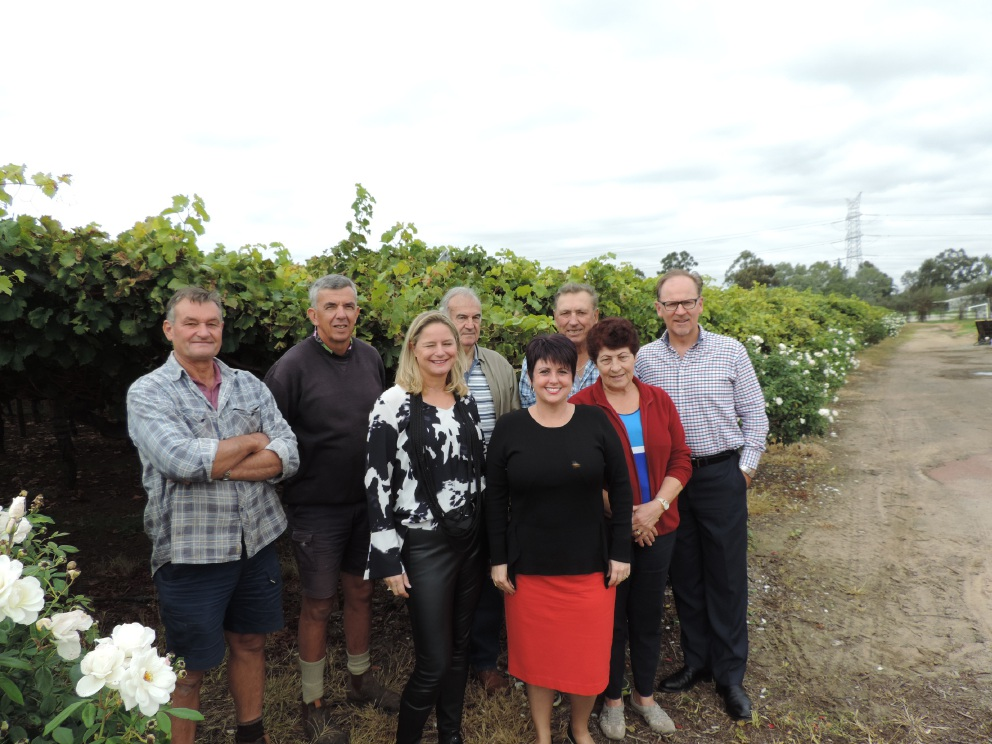 Alyssa Hayden MLC (fifth from left) with concerned residents of West Swan (from left) Matt Katich, Peter Nuich, Corina Johnson, George Martinich, Ned and Violet Barbarich and Grant Brinklow.