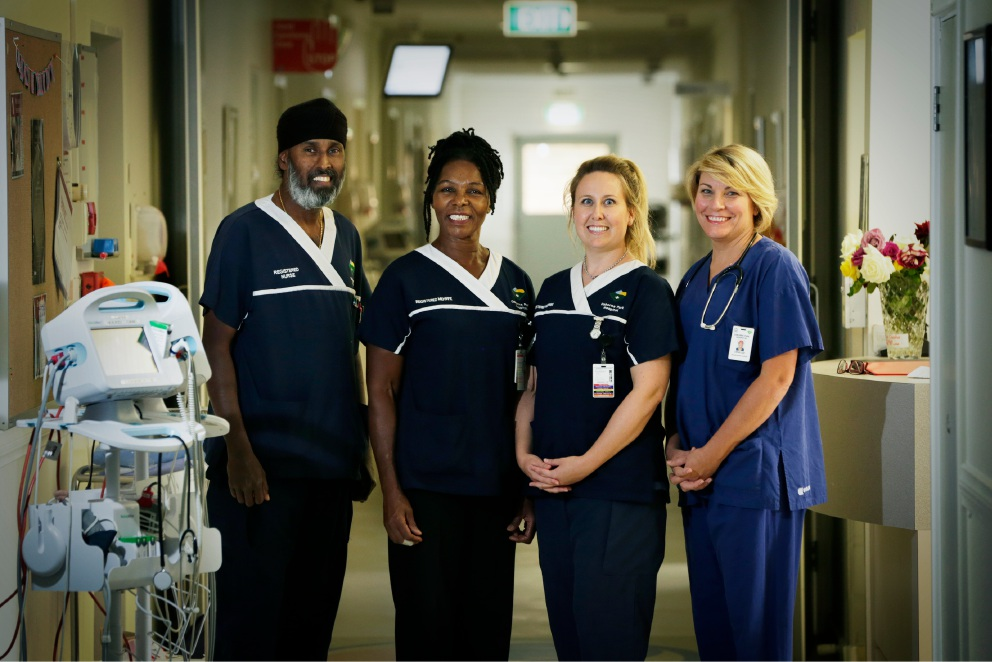 Permjit Dhillon, Grace Evans, Elle Hopwood and Janelle Thompson for International Midwives and Nurses Day at Osborne Park Hospital. Picture: Andrew Ritchie d453344