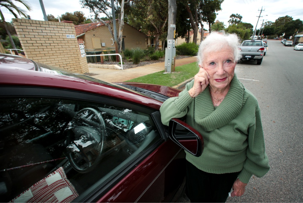 Inez Minc, a resident at the Hyde Retirement Village in Bassendean, is concerned about the lack of parking for Hyde Retirement Village residents. Picture: David Baylis d453429
