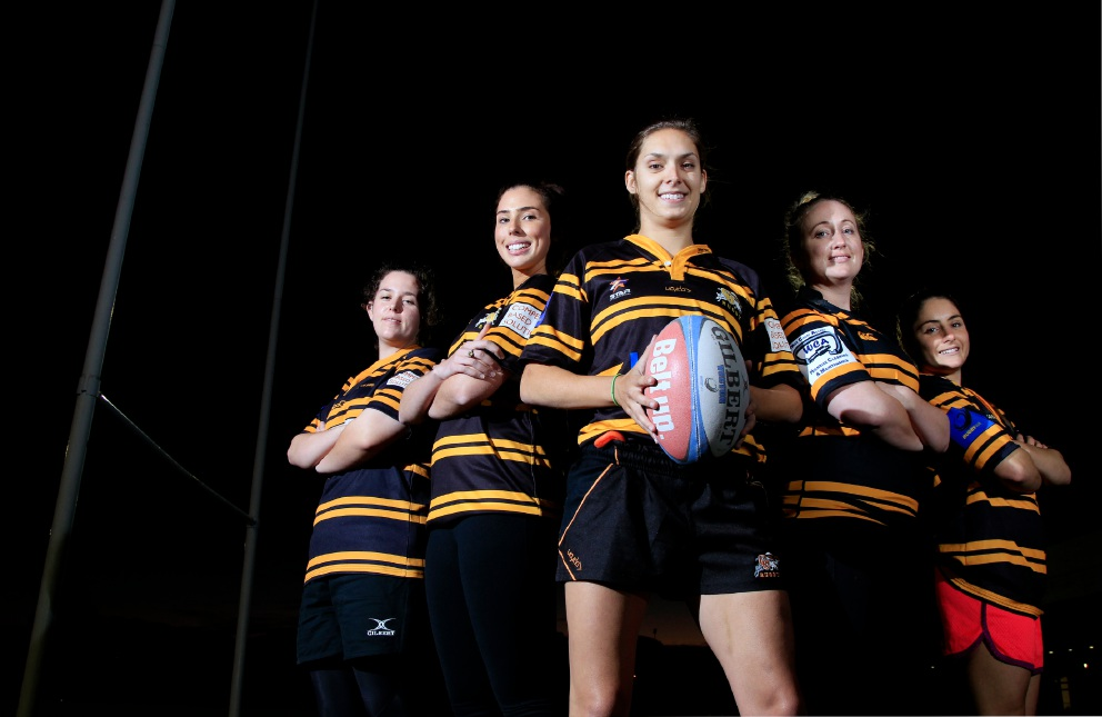 Part of the women's rugby team Micahla Evetts, Cailin McEntee, Kristin Fairbairn, Vivienne Smith and Skipper van Peer. Marie Nirme d453571