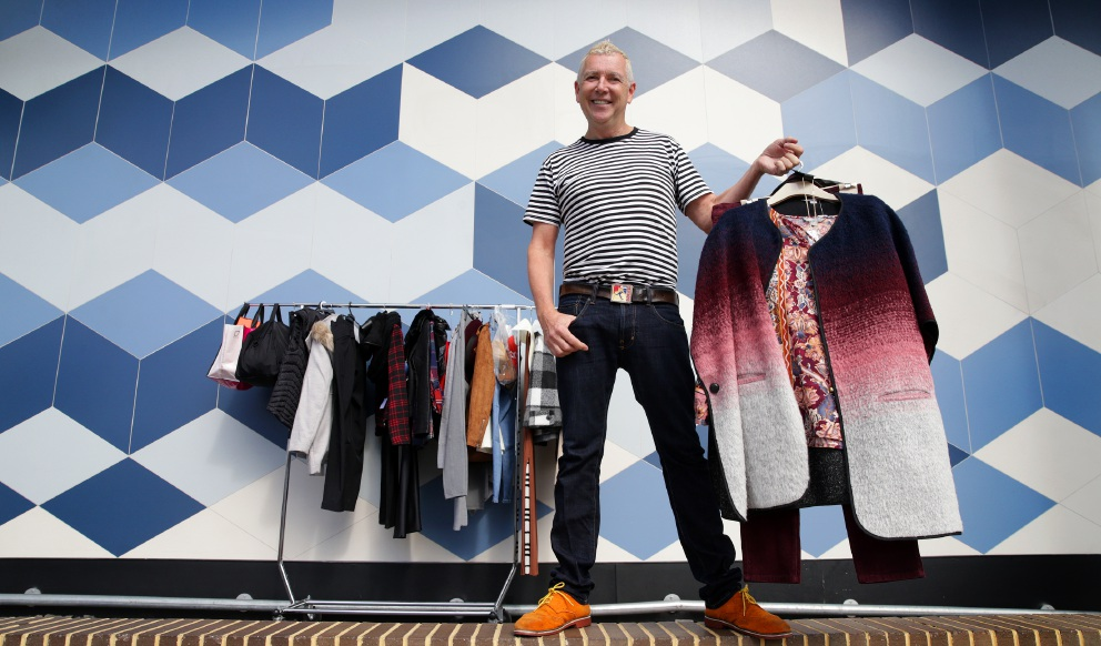 Stylist Desmond Eddy with clothes by Suzanne Grae. Picture: Martin Kennealeywww.communitypix.com.au   453726