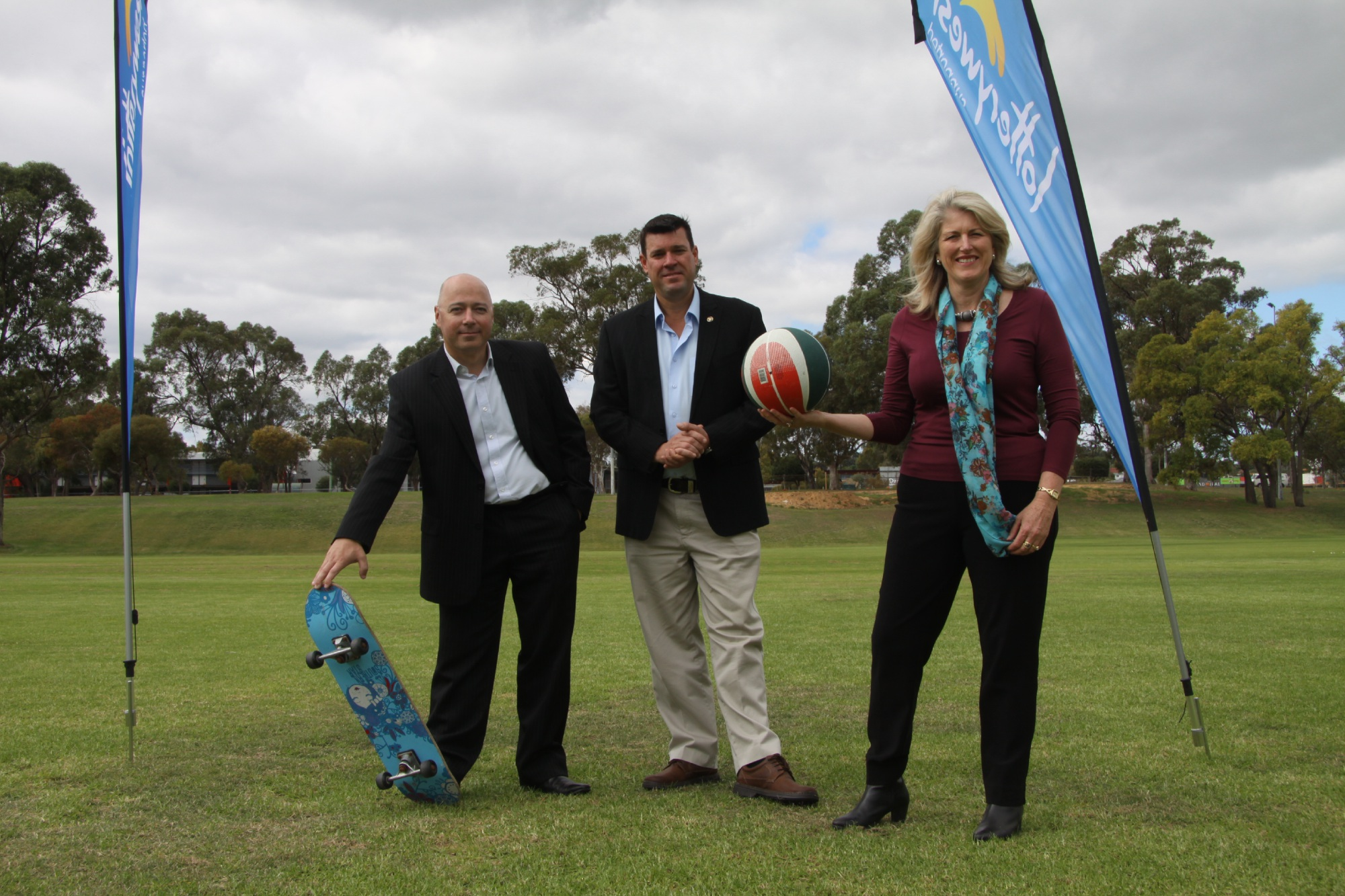 Liberal candidate for Brand Craig Buchanan, South Metropolitan MLC Phil Edman and Kwinana Mayor Carol Adams at the site of the new park.