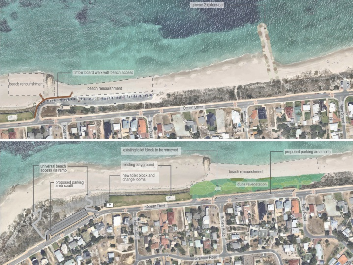 Two options for long-term coastal management were proposed for Quinns Beach, with one (top) to add a groyne and alter existing groynes. The other (bottom) proposed relocating the car park as well.