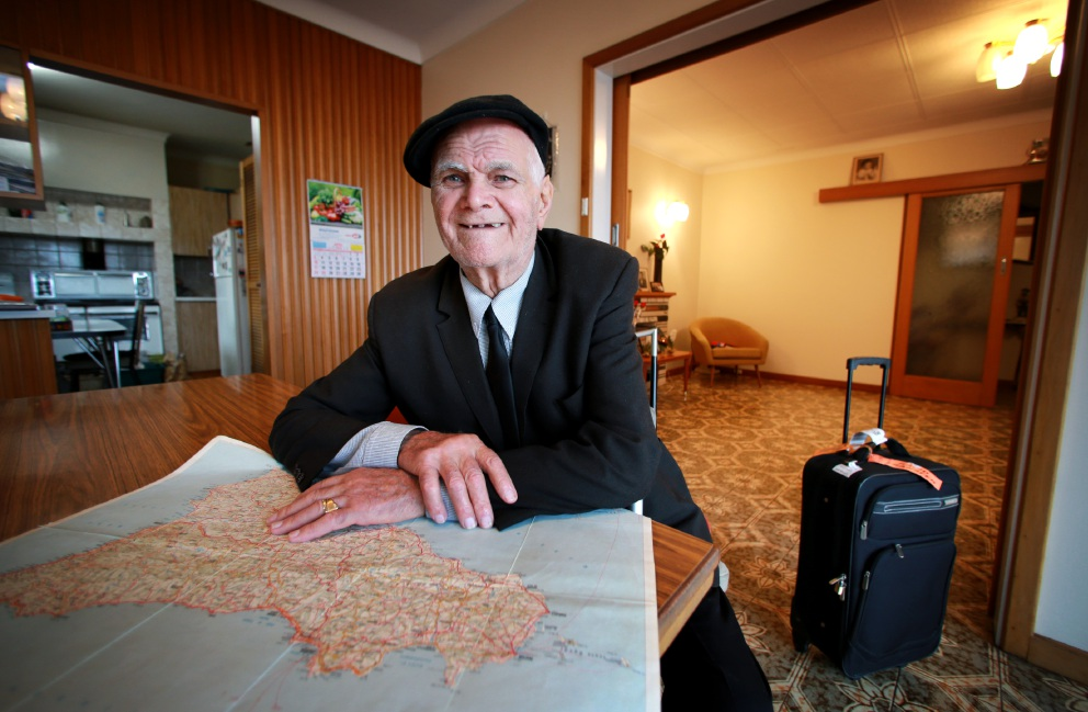 Carmelo Caputo wants his relatives to pay his fare to his party overseas if he makes it to 100. Picture: David Baylis    d452512