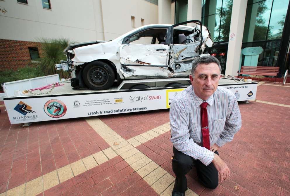 City of Swan Mayor Mick Wainwright at the car crash display.  Picture: David Baylis          d453645