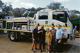 Fire control officer Arthur Stanton, Captain Allan Bennett, |secretary Pam Bennett, First Lt Christopher Mackey and DFES |district officer Terry Wegwermer with the new firefighting truck.