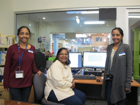 Aniketa, Abhita and Vrishti Sinha at the Nedlands Library.