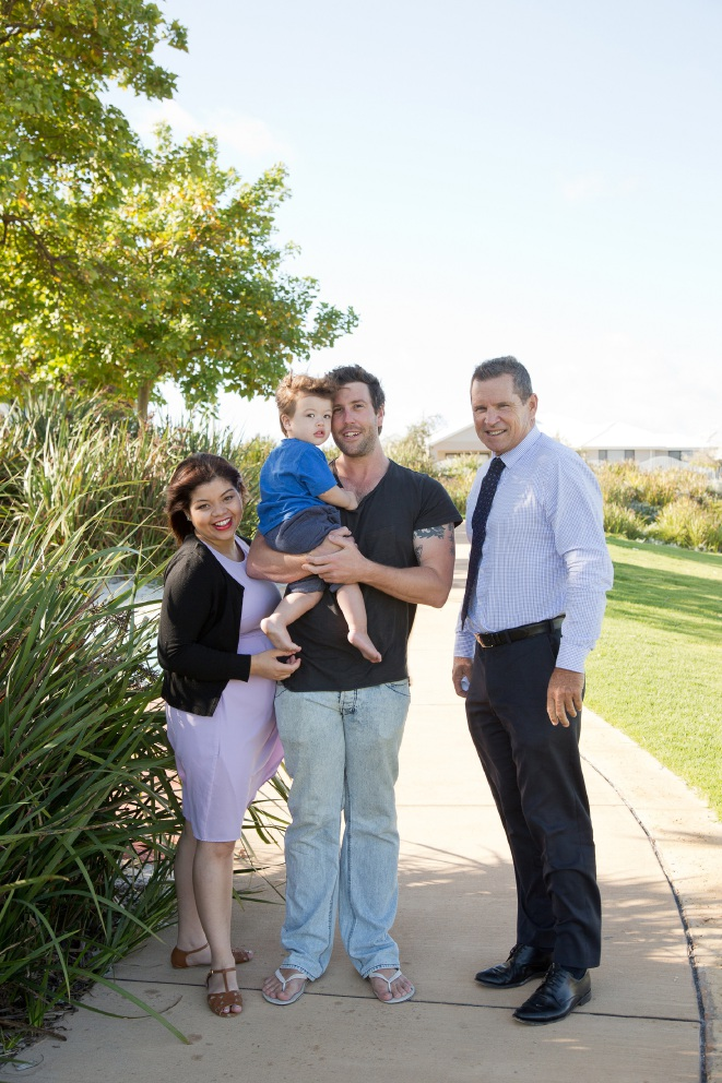 Crystal Biel, son Logan and Jonathon Blaze with Stockland WA general manager Col Dutton.
