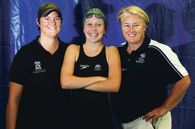Elite swimmer Kat Downie (17) with national coach Julie Hardt (left) and high performance international coach Mel Tantrum. Picture: Marcus Whisson d394484