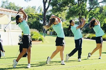 Nicha Thanissorn, Claudia Pisano, Hira Naveed and Hannah Green will also play in the WA amateur championships at Royal Fremantle from March 13-17. Picture: Marcus Whisson d395915