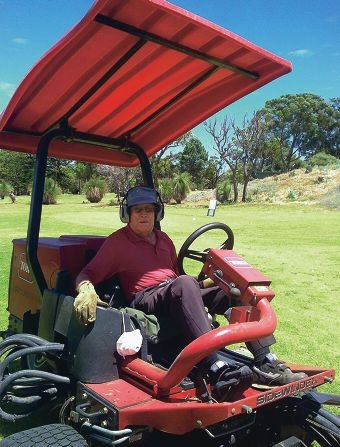 Life member Doug Stokes (88) on the mower at Mosman Park Golf Club.