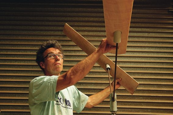 Beaconsfield artist Matthias Dickmann with his kinetically-sensitive blade sculpture.