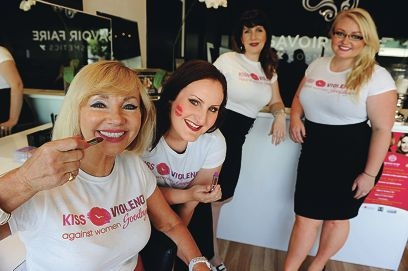 Kiss Violence Against Women Goodbye founder Barbara McNaught, at front, with Savoir Faire Cosmetics staff Kate Walsh, Leia Corrie and Carla Zuks-Baker. Picture: Marcus Whisson www.communitypix.com.au d395243